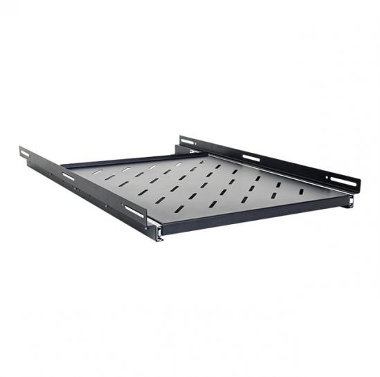 slide-out shelf for 1000mm rack cabinets (usable depth: 500mm, RAL9005) (STLCA-SS100-B) | START.LAN