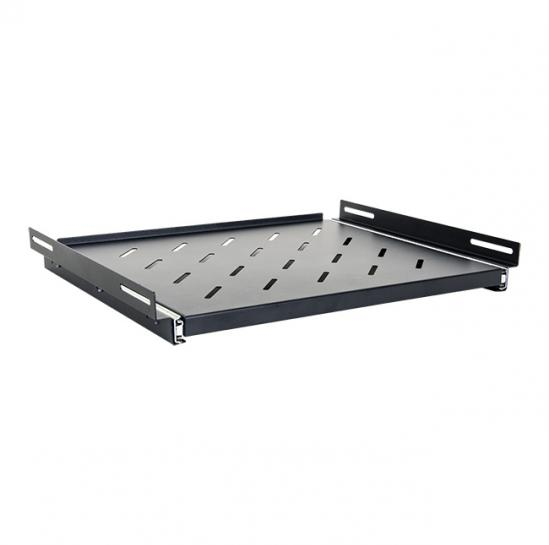 slide-out shelf for 600mm rack cabinets (usable depth: 350mm, RAL9005) (STLCA-SS60-B) | START.LAN