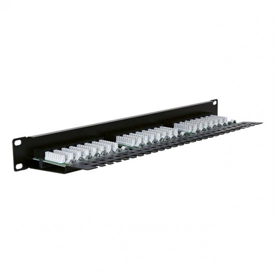 UTP patch panel, cat.5e, 24 ports with a fixed strip (STLPP24UC5E-F) | START.LAN