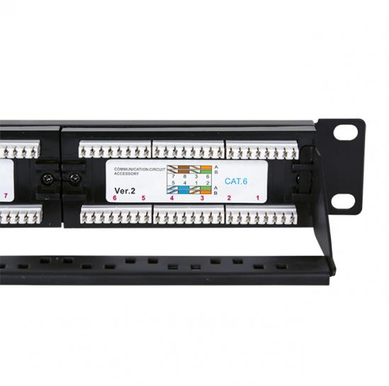 UTP patch panel, cat.6, 24 RJ-45 ports with a demountable auxiliary strip (STLPP24UC6-D) | START.LAN