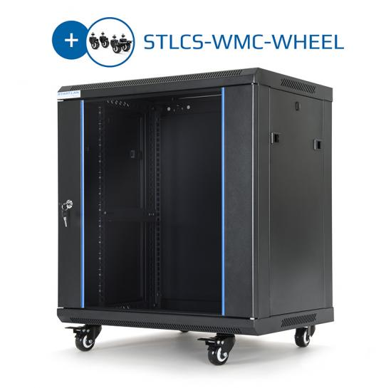 "19"" wall mount-and-floor-standing rack cabinet 12U 600x450mm (STLWMC-12U-645-GSB-C) 